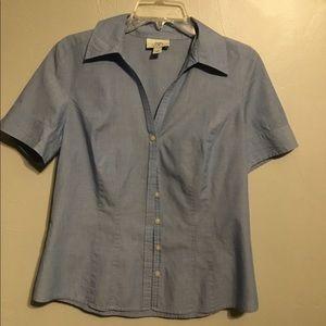 Ann Taylor Loft denim short sleeve shirt